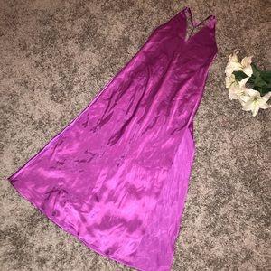 Fredericks of Hollywood purple satin silk gown